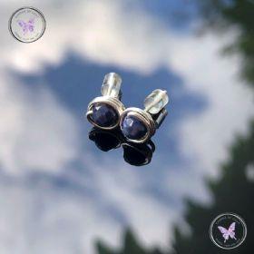 Blue Sapphire Silver Wire Wrap Stud Earrings